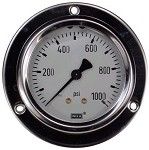 0-1000 PSI Liquid Filled Gauge with Back Post & Flange