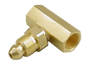 Helium Tee Adapter - CGA 580 - Male to Female to Female, Brass